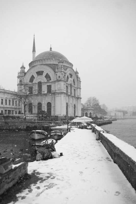 Snow Along The Bosphorus (ortakoy Mosque)