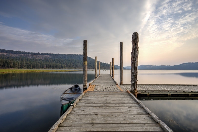 Dock At Calm, Tranquil Chatcolet Lake.