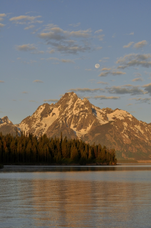 Moon Set Over Mt. Moran