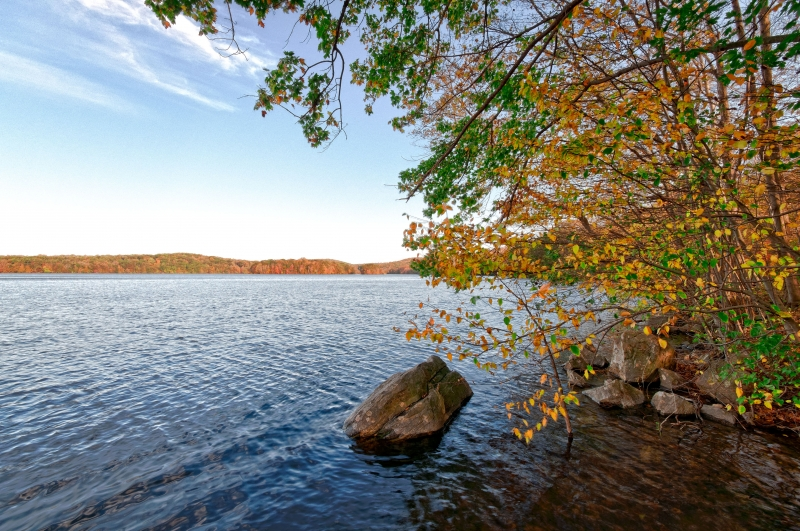 Fall, Rock, Reservoir, Trees, Leaves, Water, Sky Hdr