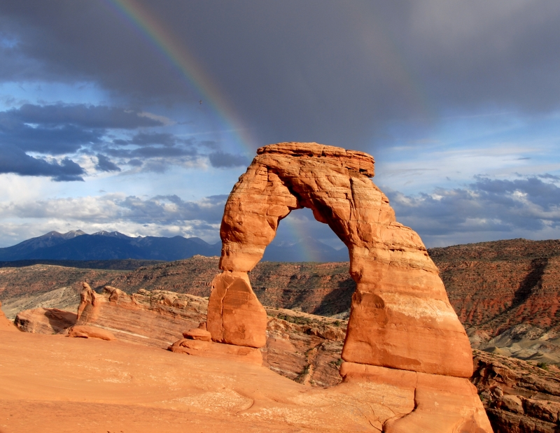 Delicate Arch Under A Rainbow