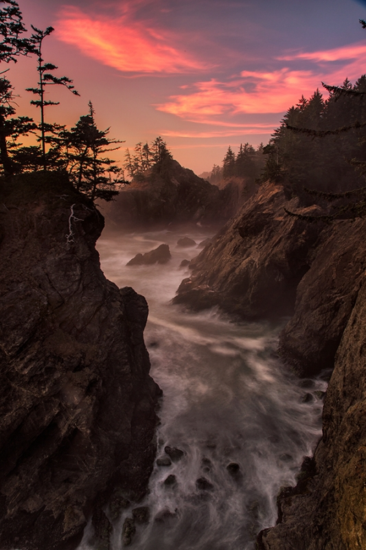 Oregon Coastline At Sunset
