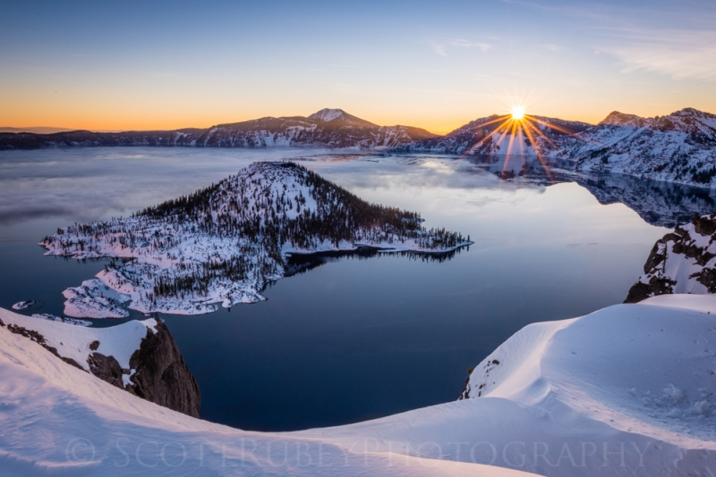 First Rays On Crater Lake Ntl Park, Or