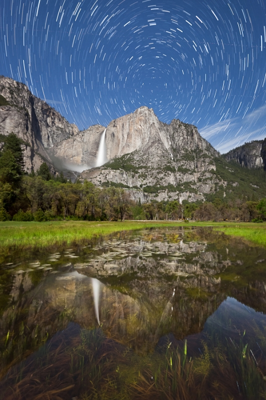 Star Trails Over Yosemite Falls