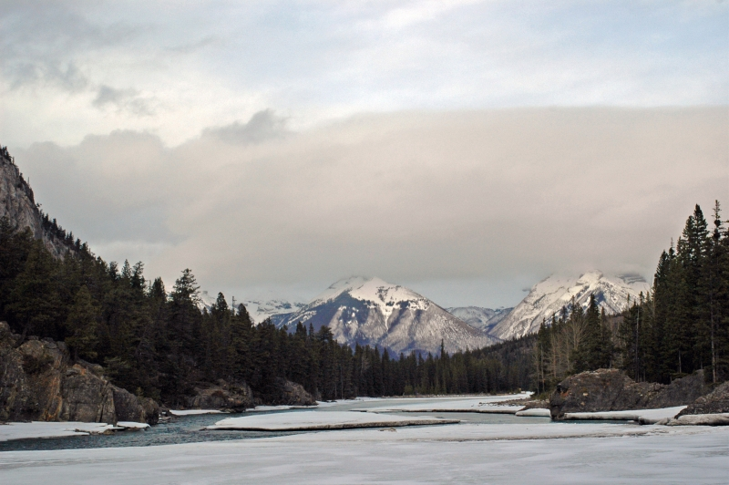 Bow River And Canadian Rockies At Sunset