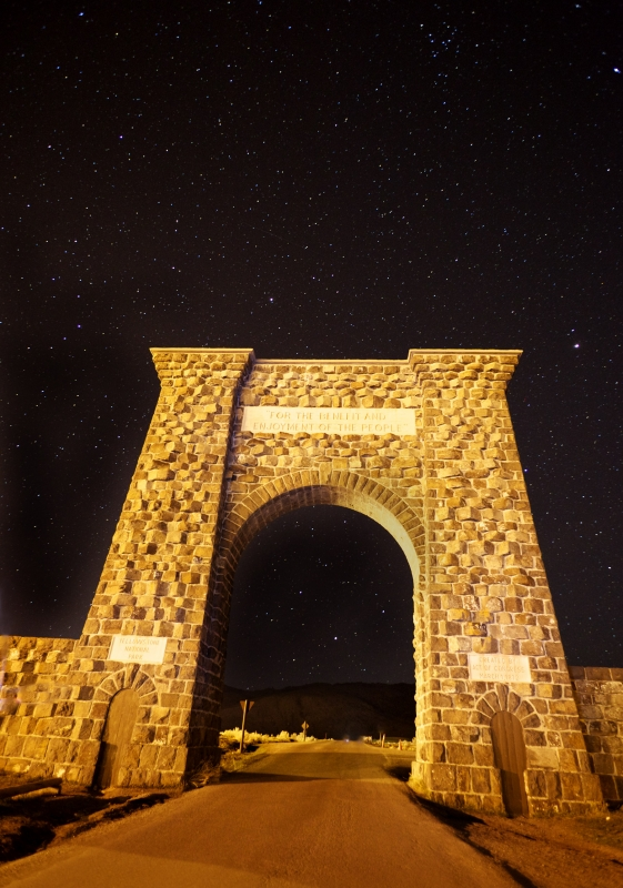 Yellowstone Entrance Arch At Night