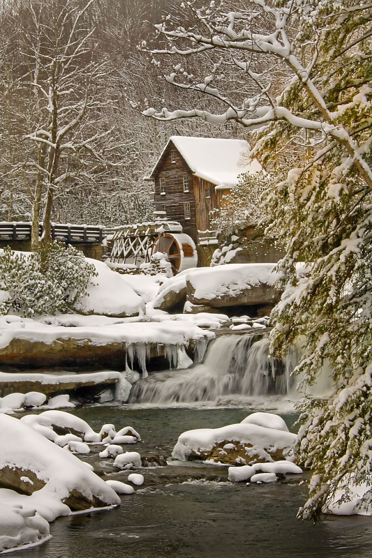 Glade Creek Grist Mill In The Snow