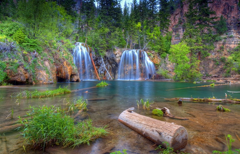 Two Falls At Hanging Lake In Color
