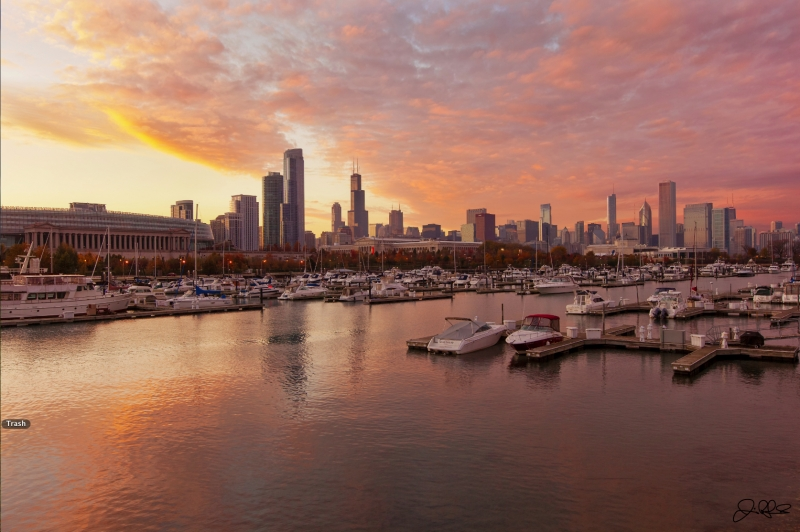 Fall Pink Chicago Sunset