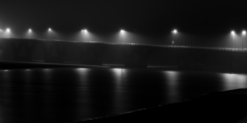 Waldport Bridge In Fog