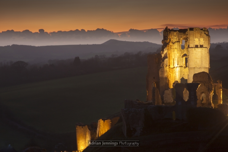 Corfe Castle, Dorset, At Twilight
