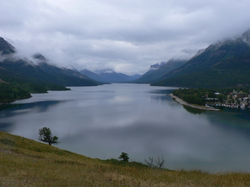 A Blue View Of The Lake Overlooking Waterton Canada
