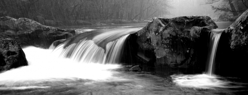 Little Pigeon Falls Bw Panaramic