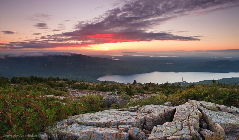 Sunt Over Acadia Nationa Park, From Cadillac Mountains