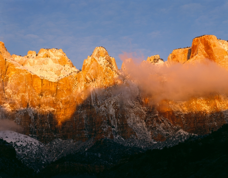 Winter Sunrise, Towers Of The Virgin, Zion National Park, Utah