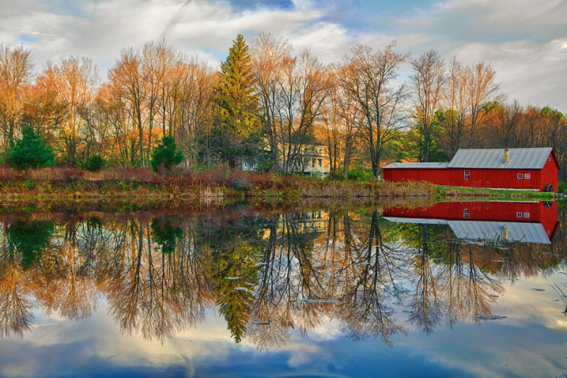 Pennsylvania, Farmland, Pond, Fall Colors, Reflection, Hdr