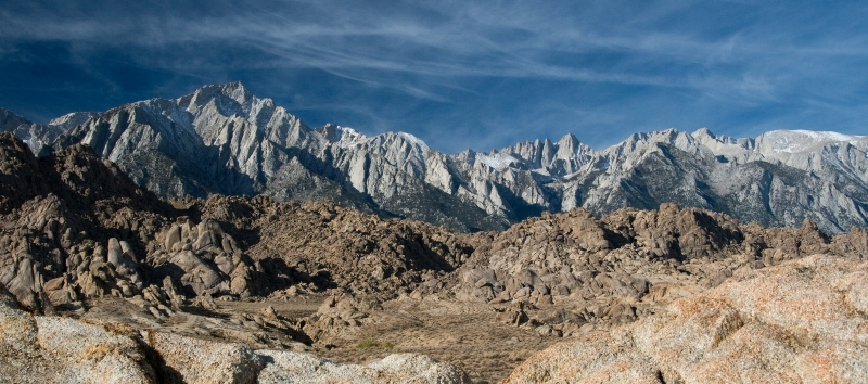 Morning Light On The Alabama Hills And High Sierra