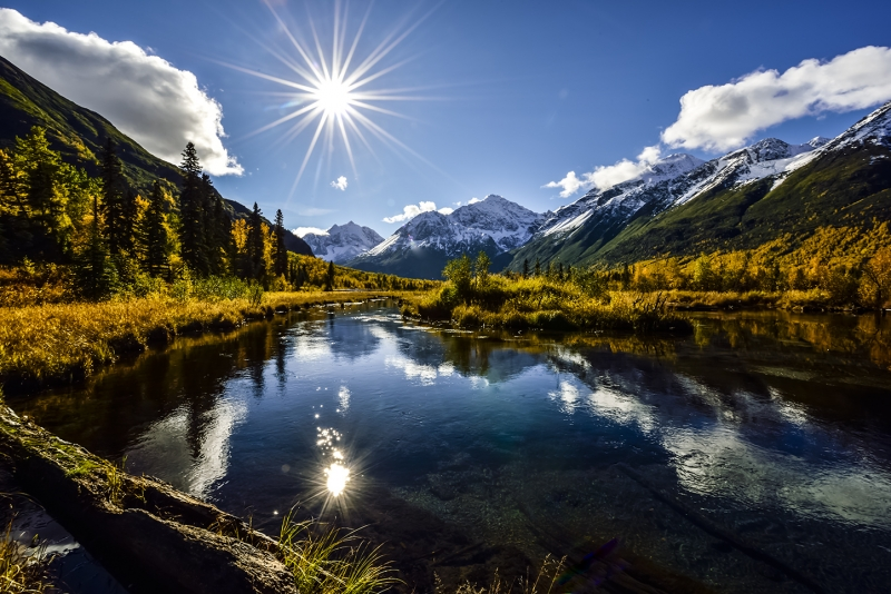 Sunstar Over Eagle River, Alaska