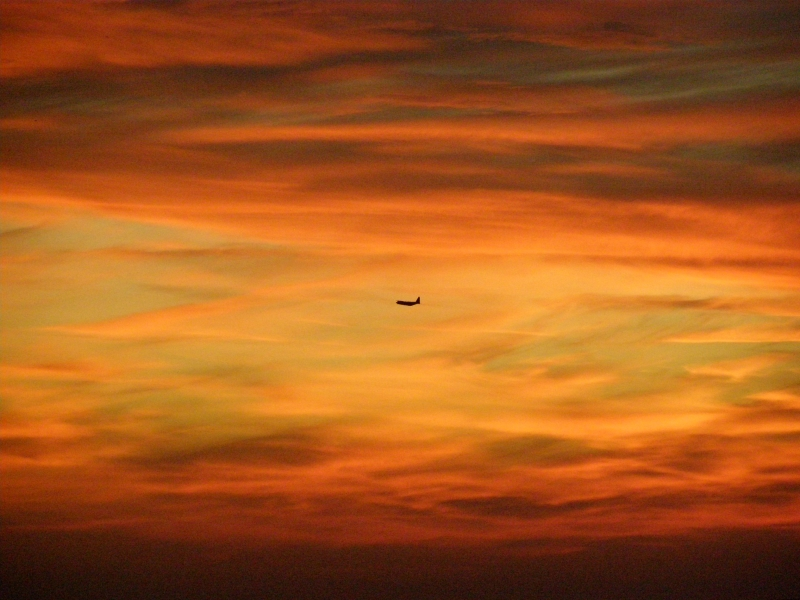 Red Sky With Plane
