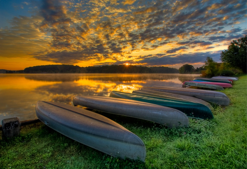 Canoes At Sunrise