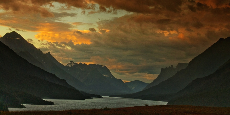 Sunset From A High Point Overlooking Waterton Lake