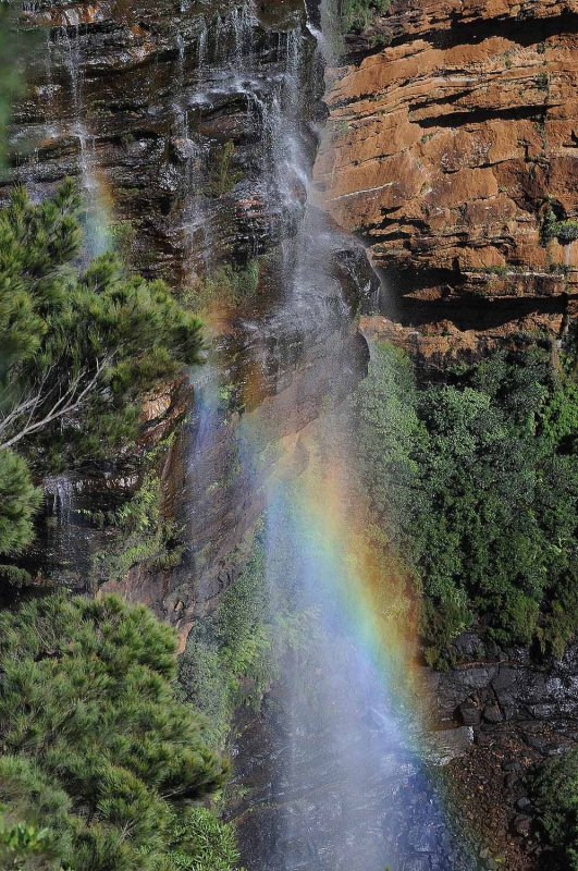 Rainbow Over Wentworth Falls In The Blue Mountains West Of Sydney