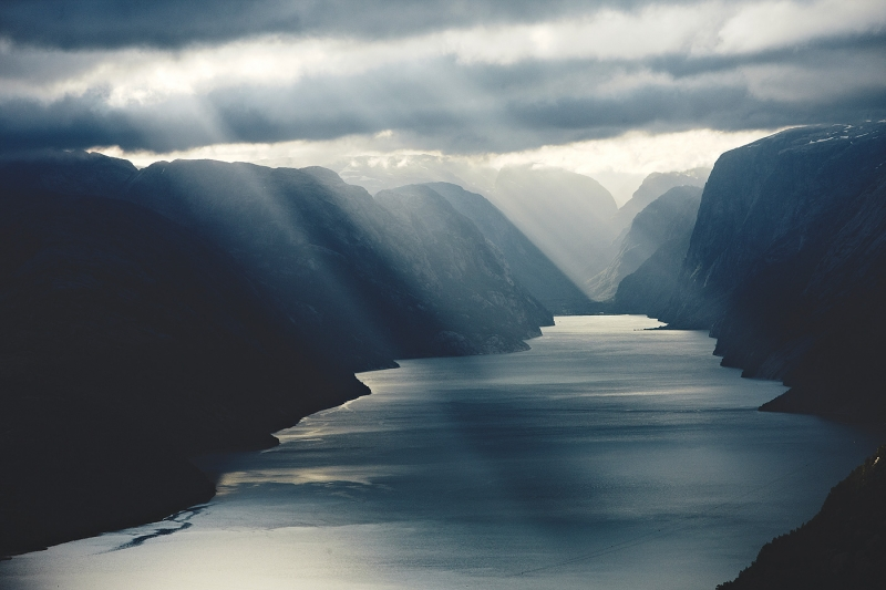 Dramatic Lights On Lysefjord