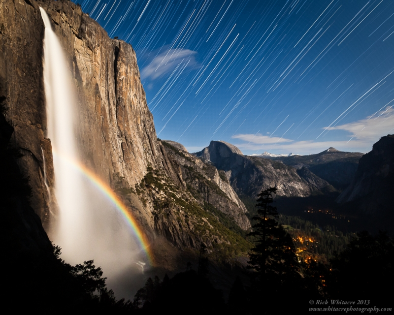 Moonbow And Star Trails