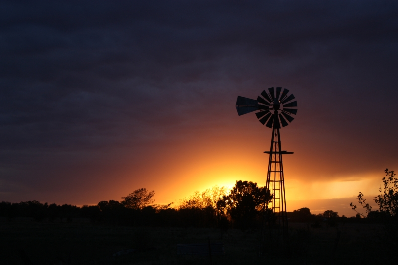 Stormy Windmill Silhouette
