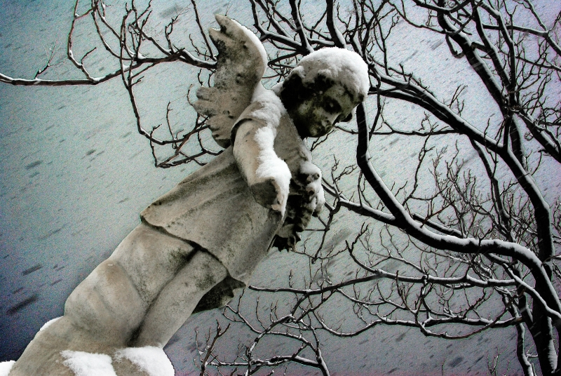 Little Angel During Snow Storm, First United Cemetery, Baltimore