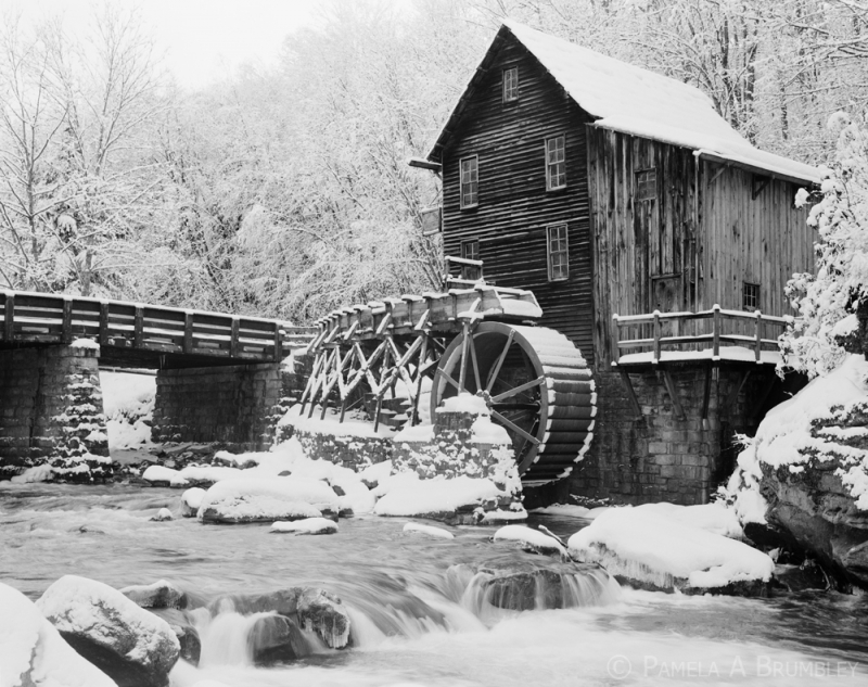 Glade Creek Grist Mill After Snowstorm