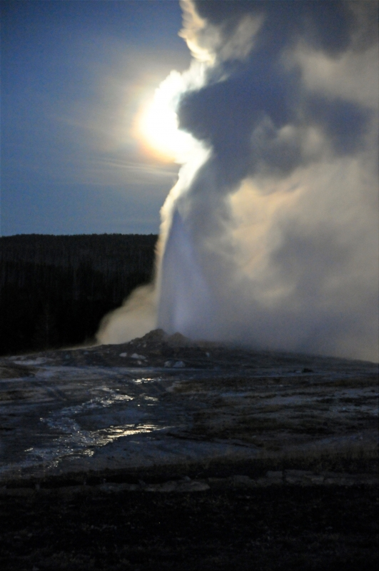 Old Faithful Erupts At Night Under Full Moon I