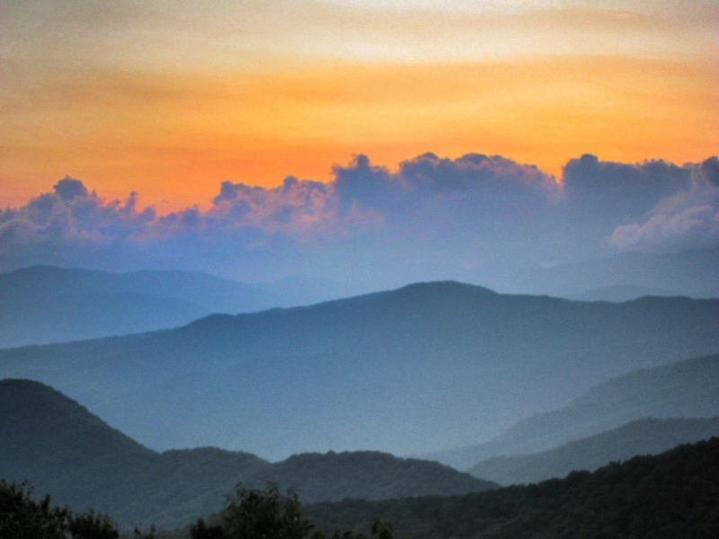 View From Balsam Mountain At Sunset