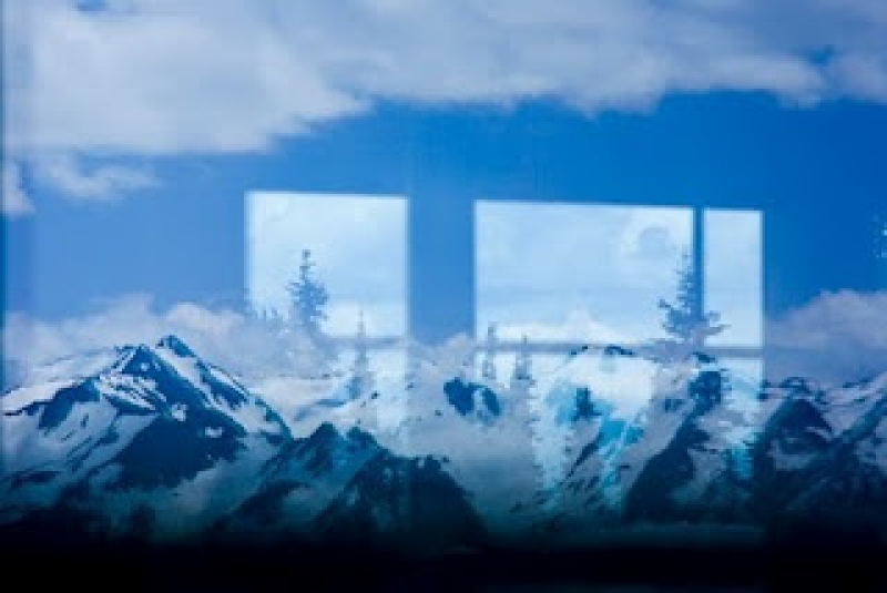 Window Reflection Of The Olympic Mountains From Hurricane Ridge, Oly Np, Wa