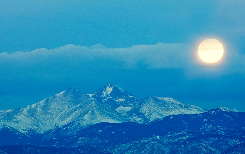 Moonset Over The Rockies