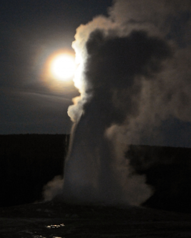 Old Faithful Erupts At Night Under Full Moon Ii