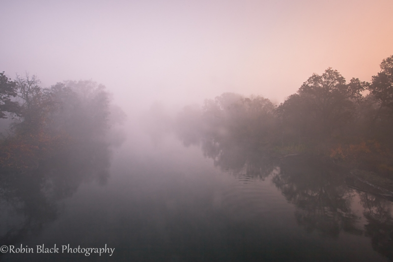 Foggy Merced River Sunrise, Sierra Foothills