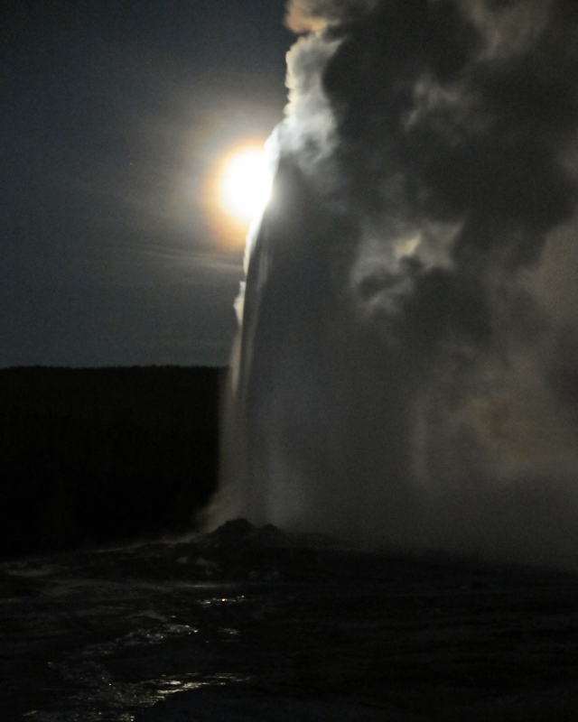 Old Faithful Erupts At Night Under Full Moon Iii