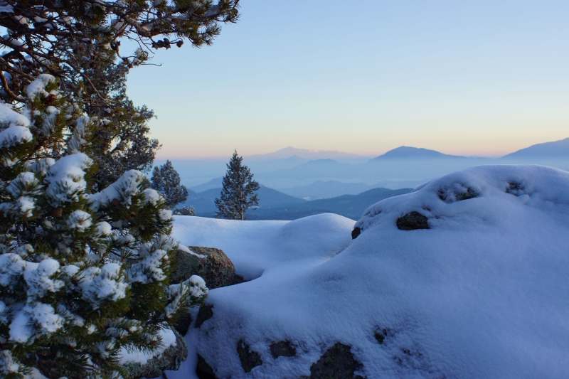 Distant View Of Pikes Peak From Conifer Mountain