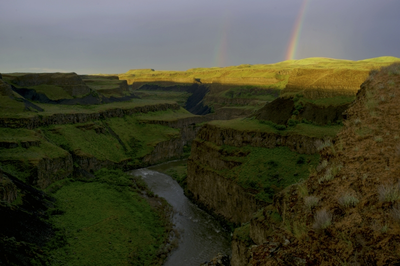 Double Rainbow Over The Palouse River Canyon