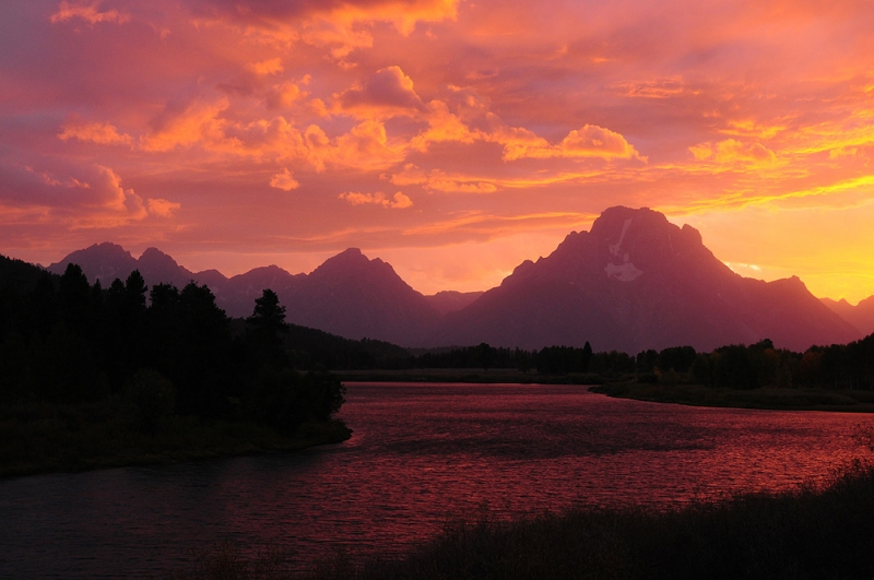 Grand Tetons At Twilight From The Oxbow