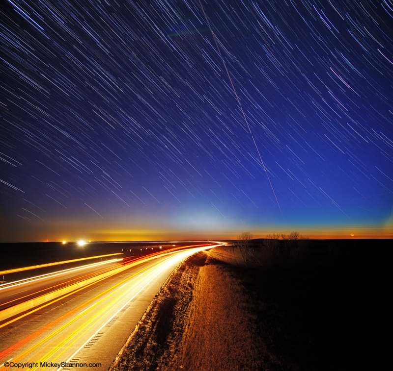 Star Trails Over The Kansas Turnpike