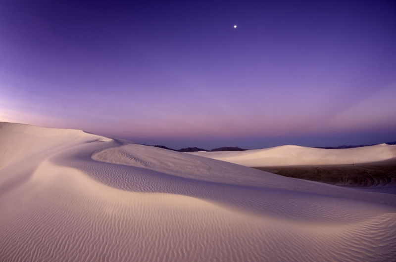 White Sands Moonset At Sunrise