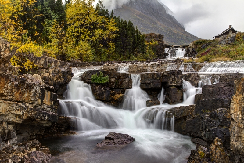 Swiftcurrent Falls In Autumn