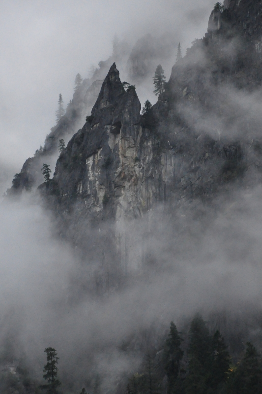 Clouds Swirling Around Walls Of Yosemite Valley