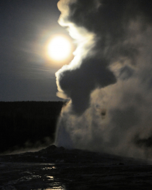 Old Faithful Erupts At Night Under Full Moon Iv