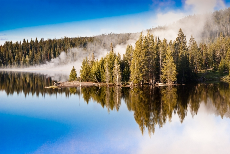 Steamy Morning Over Yellowstone Lake