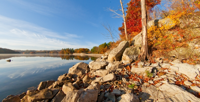 Fall, Reservoir, Rocks, Dam, Sky, Trees, Panorama, Hdr