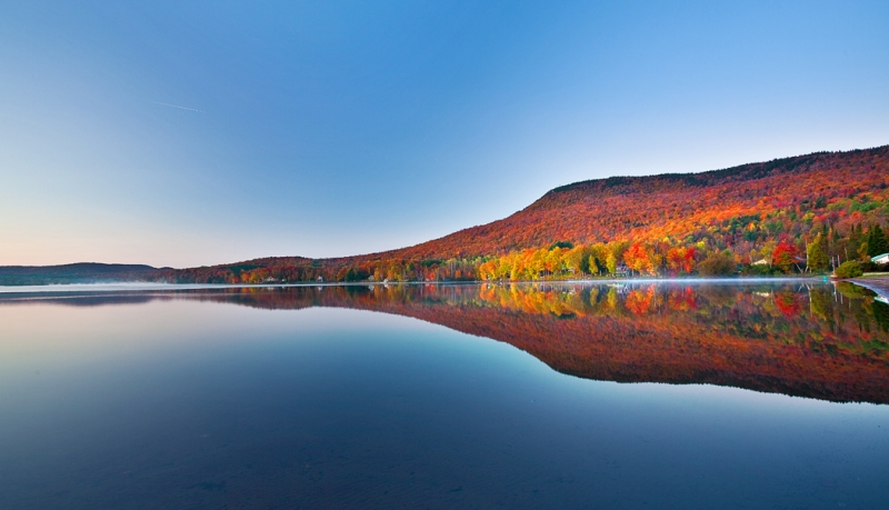 Vermont, Stowe, Lake Elmore, Foliage, Fall Colors, Dawn,