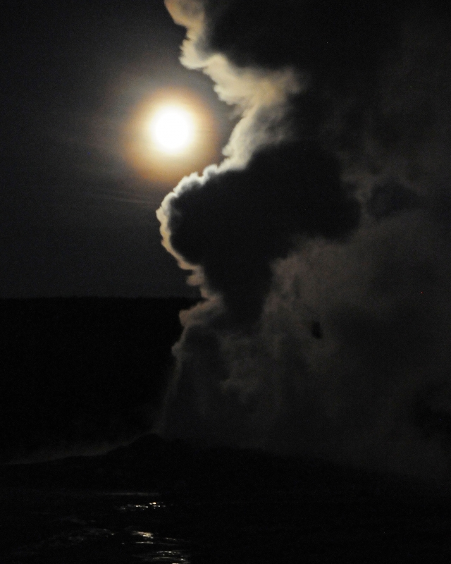 Old Faithful Erupts At Night Under Full Moon V